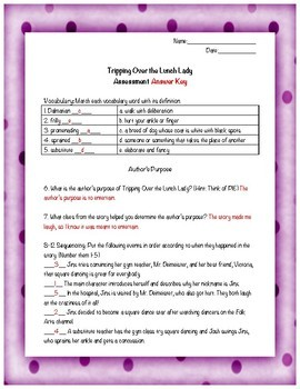 Tripping Over the Lunch Lady KID FRIENDLY Reading Street Test