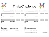 Trivia Challenge Student Score Sheet
