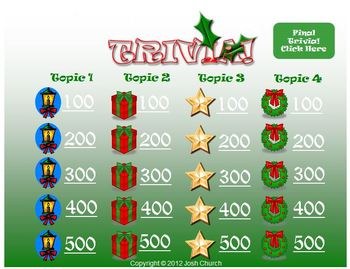 trivia christmas template jeopardy like review game - Christmas Jeopardy Game