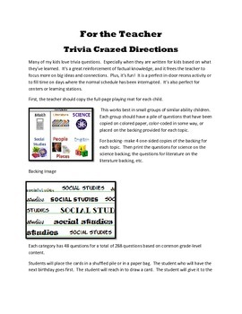 Trivia Crazed Game Based on 5th Grade Content