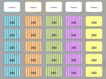 Blank Chevron Jeopardy Game