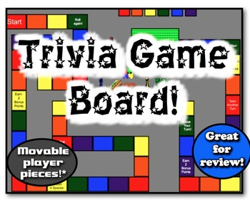Trivia Game Board!  9 Movable Pieces!  Great for class review, trivia!