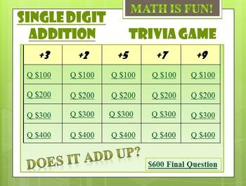 Math Trivia Game: Single Digit Addition