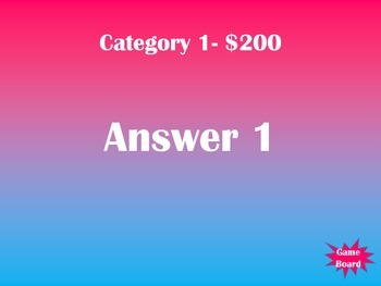 Trivia Game Template (Jeopardy Style w/ 5 Categories)