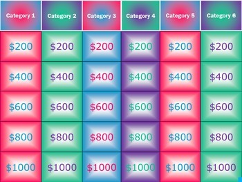 Trivia Game Template (Jeopardy Style w/ 6 Categories)
