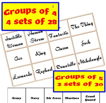 Trivia Grouping Cards for Upper-Level Grades