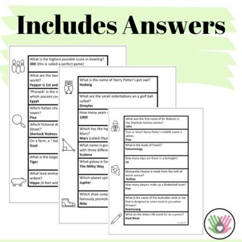 Trivia Strips For Kids {3rd-5th Grade}