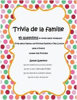 Trivia de la famille - Family Questions worksheet in French