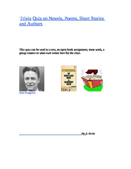 Trivia quiz On Novels, Short Stories, Poems And Authors
