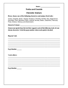 Troilus and Cressida Character Analysis Activity - William Shakespeare