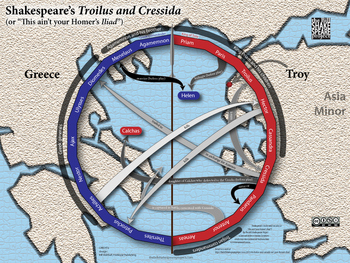 Troilus and Cressida: Relationships and Geography Infographic