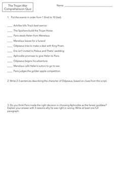 Trojan War Reader's Theater, Fun Activity for The Odyssey or Ancient Greece