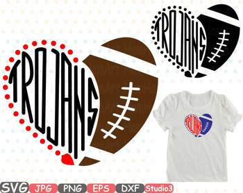 Trojans NFL clipart sports School svg Sayings heart ball football sport 719s