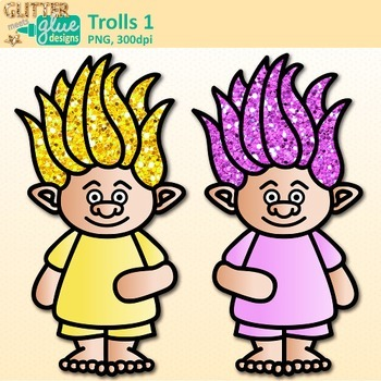 Rainbow Troll Clip Art | Glitter Gnomes for Digital Resources & Scrapbooking 1