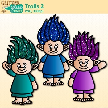 Rainbow Troll Clip Art | Glitter Gnomes for Digital Resources & Scrapbooking 2