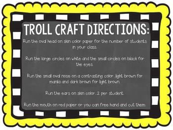 Troll Craft Back to School Activities