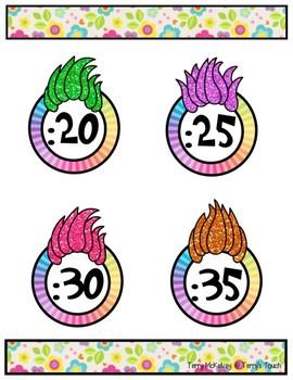 Troll Hair Clock Labels