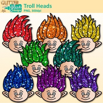Rainbow Troll Clip Art | Glitter Gnome Heads for Digital Scrapbooking 3