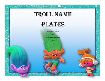 Troll Inspired Name Plates (Blue Star Border Design)