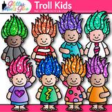Cute Troll Kids Clip Art | Children with Glitter Gnome Hair for Teachers
