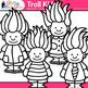 Cute Troll Kids Clip Art {Children with Glitter Gnome Hair