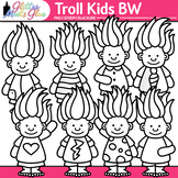 Cute Troll Kids Clip Art {Children with Glitter Gnome Hair