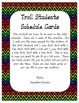 Troll Student Schedule Cards