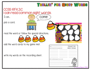 Trollin for Sight Words Fall Kindergarten Wonders Sight Words Center