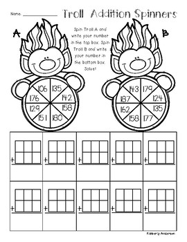 Trolls: 2 and 3 Digit Addition Spinners