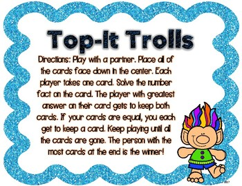 Trolls Addition and Subtraction Top It