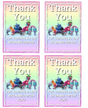 Trolls Birthday Thank You Tag