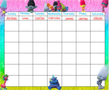 Trolls Calendar 24x20 Bilingual with months and numbers