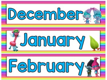 Trolls Calendar Set III