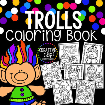 Trolls Coloring Book {Made by Creative Clips Clipart}