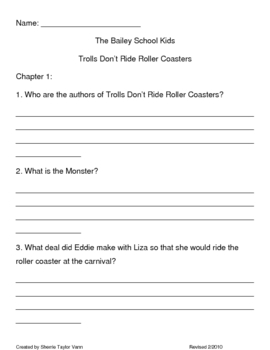 Trolls Dont Ride Roller Coasters Comprehension Questions
