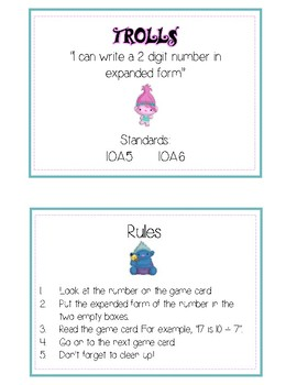 Trolls Expanded Form Math File Folder Game Place Value Tens & Ones