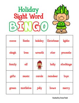 Trolls Holiday Sight Word BINGO - 30 different cards!