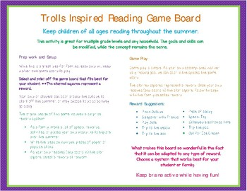 Trolls Movie Inspired Printable Reading Game Board