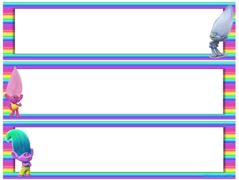 Trolls Name Plates (multicolor lines background)