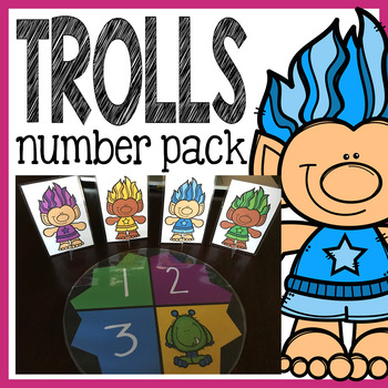 Trolls Number Pack: Counting Worksheets, Math Centers, Flash Cards, and More!