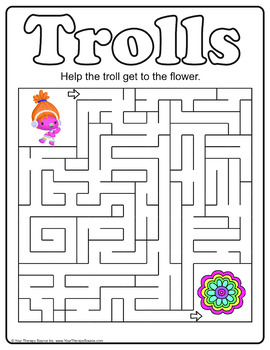 Trolls - Pencil Challenges: Visual Motor Skills and Mazes