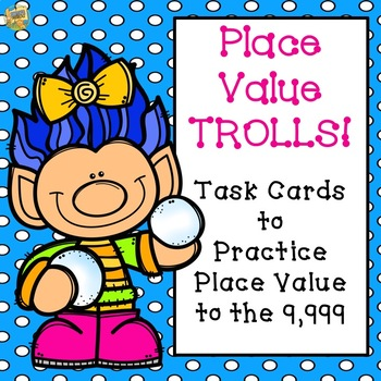 Place Value to 9,999 SCOOT game/task cards - WINTER TROLLS!