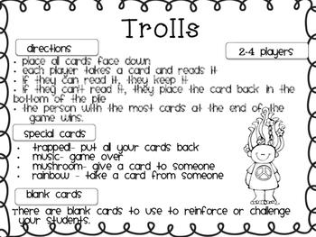 Trolls! -   Read, Say, Keep, and Roll, Say, Write CVC Game