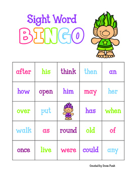 Trolls Sight Word Bingo - 30 cards (Includes b/w version)