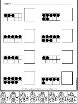Trolls Ten Frame Number Match 1-20