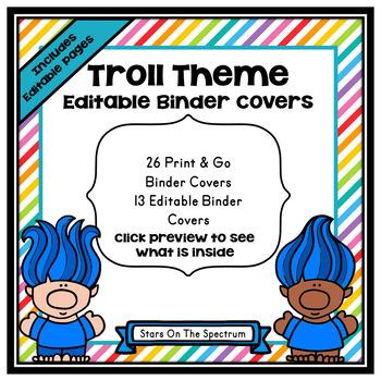 Trolls Theme Classroom Decor - Binder Covers