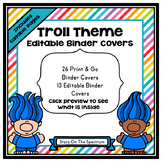 Trolls Theme Classroom Decor - Binder Covers