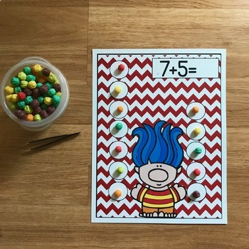 "Trolls Themed Math Activities:  ""Counting Troll Food"""