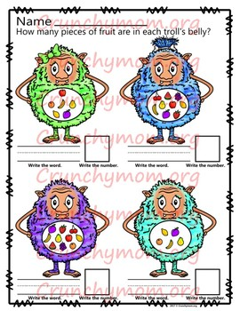Trolls Worksheets No PREP Count & Write for Numbers 1-10  CM