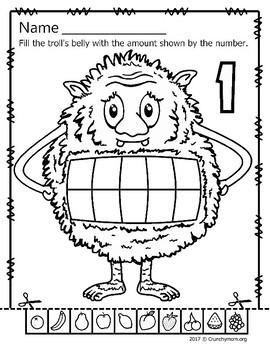 Trolls Worksheets No PREP Cut-n-Paste for Numbers 1-10  CM 10 Frame Trolls